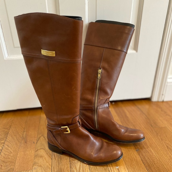 Coach Shoes Brown Walnut Leather Size 7 Knee High